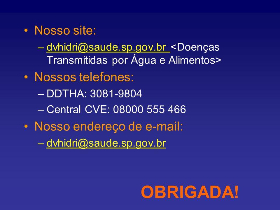 OBRIGADA! Nosso site: Nossos telefones: Nosso endereço de e-mail: