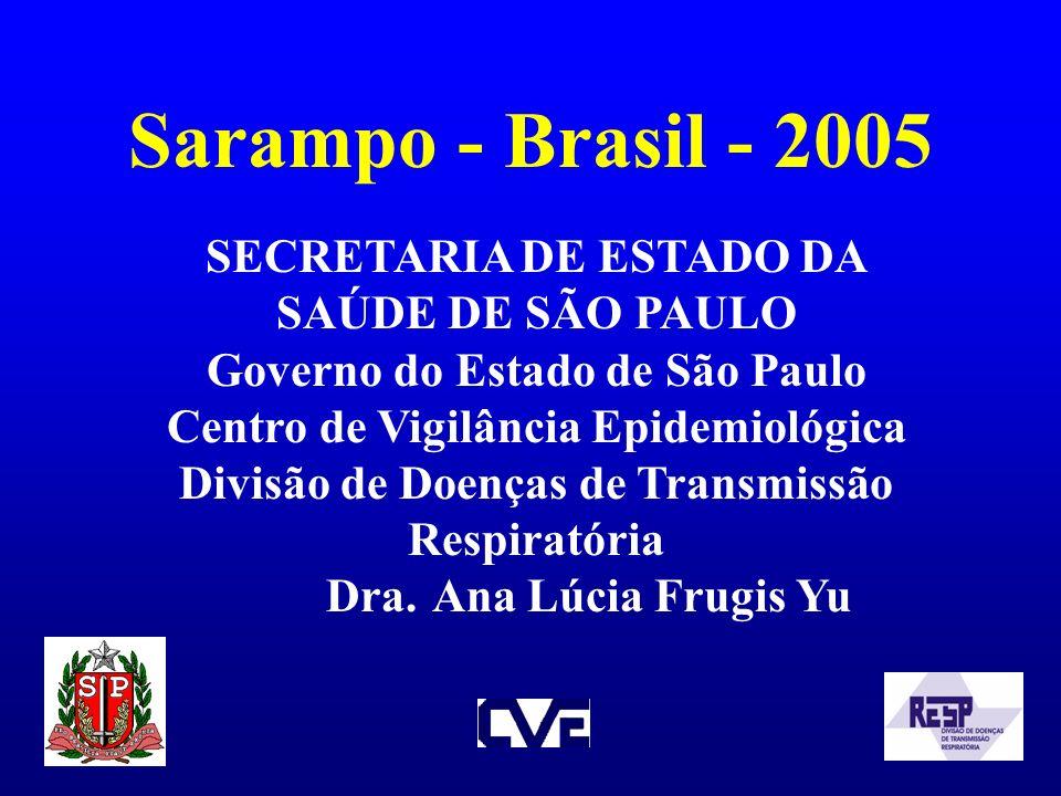 Sarampo - Brasil - 2005 SECRETARIA DE ESTADO DA SAÚDE DE SÃO PAULO