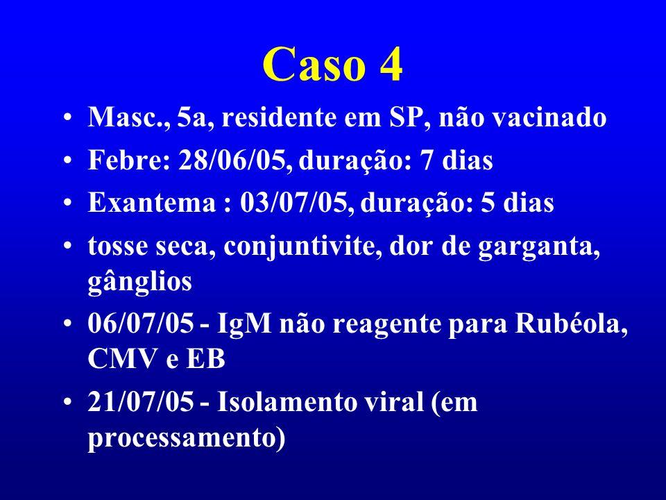 Caso 4 Masc., 5a, residente em SP, não vacinado