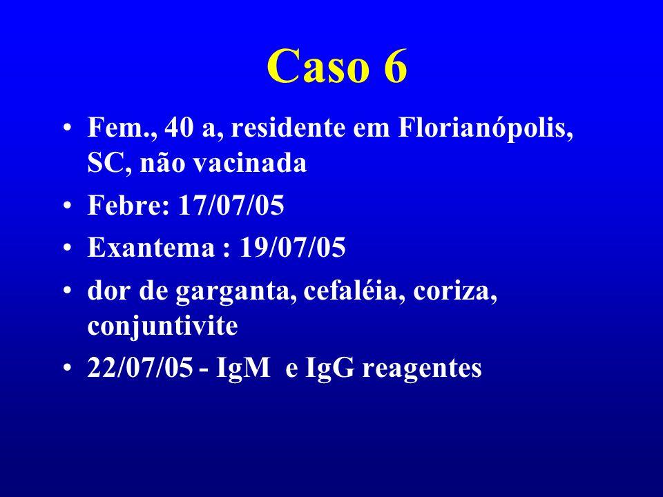 Caso 6 Fem., 40 a, residente em Florianópolis, SC, não vacinada