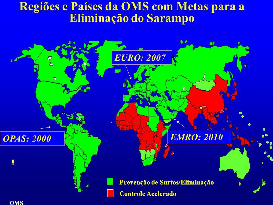 Regiões e Países da OMS com Metas para a Eliminação do Sarampo