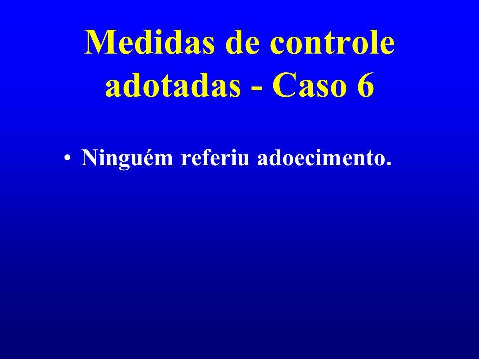 Medidas de controle adotadas - Caso 6