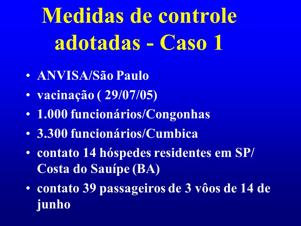 Medidas de controle adotadas - Caso 1