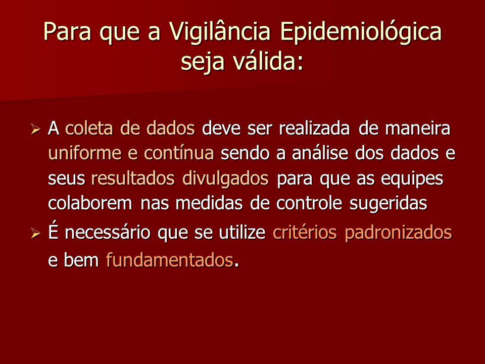 Para que a Vigilância Epidemiológica seja válida: