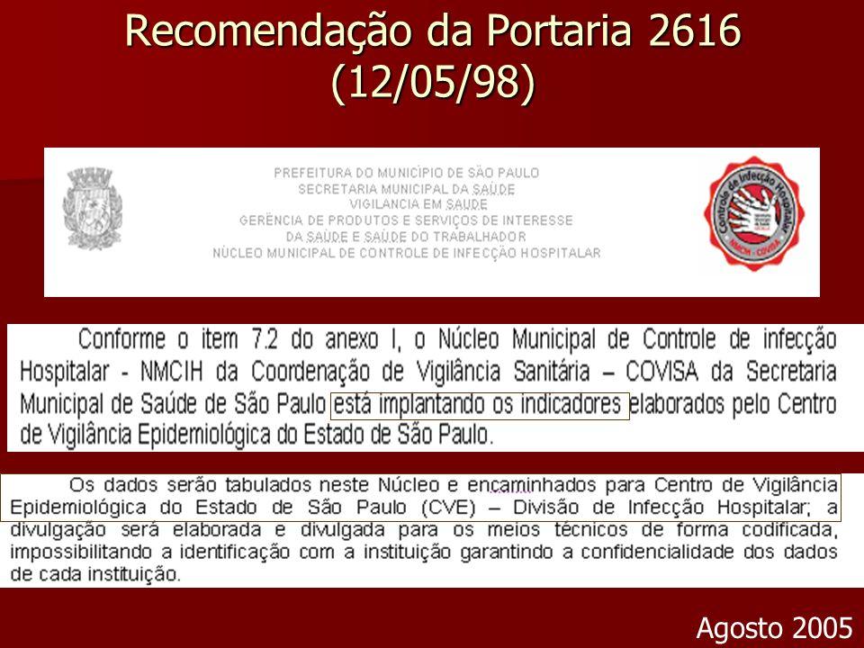 Recomendação da Portaria 2616 (12/05/98)