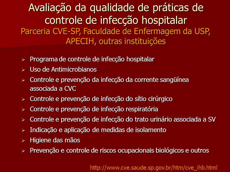 Avaliação da qualidade de práticas de controle de infecção hospitalar Parceria CVE-SP, Faculdade de Enfermagem da USP, APECIH, outras instituições