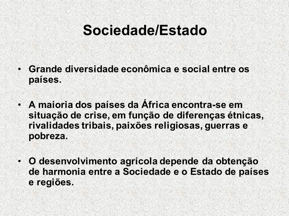 Sociedade/EstadoGrande diversidade econômica e social entre os países.