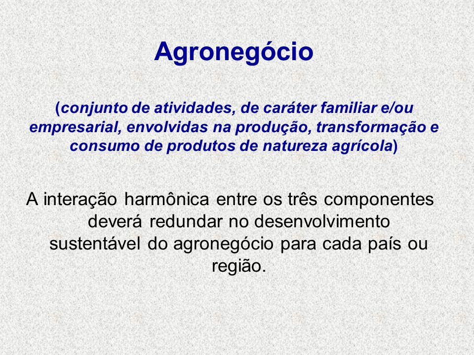 Agronegócio (conjunto de atividades, de caráter familiar e/ou empresarial, envolvidas na produção, transformação e consumo de produtos de natureza agrícola)
