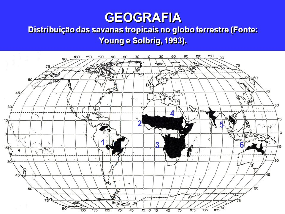 GEOGRAFIA Distribuição das savanas tropicais no globo terrestre (Fonte: Young e Solbrig, 1993).