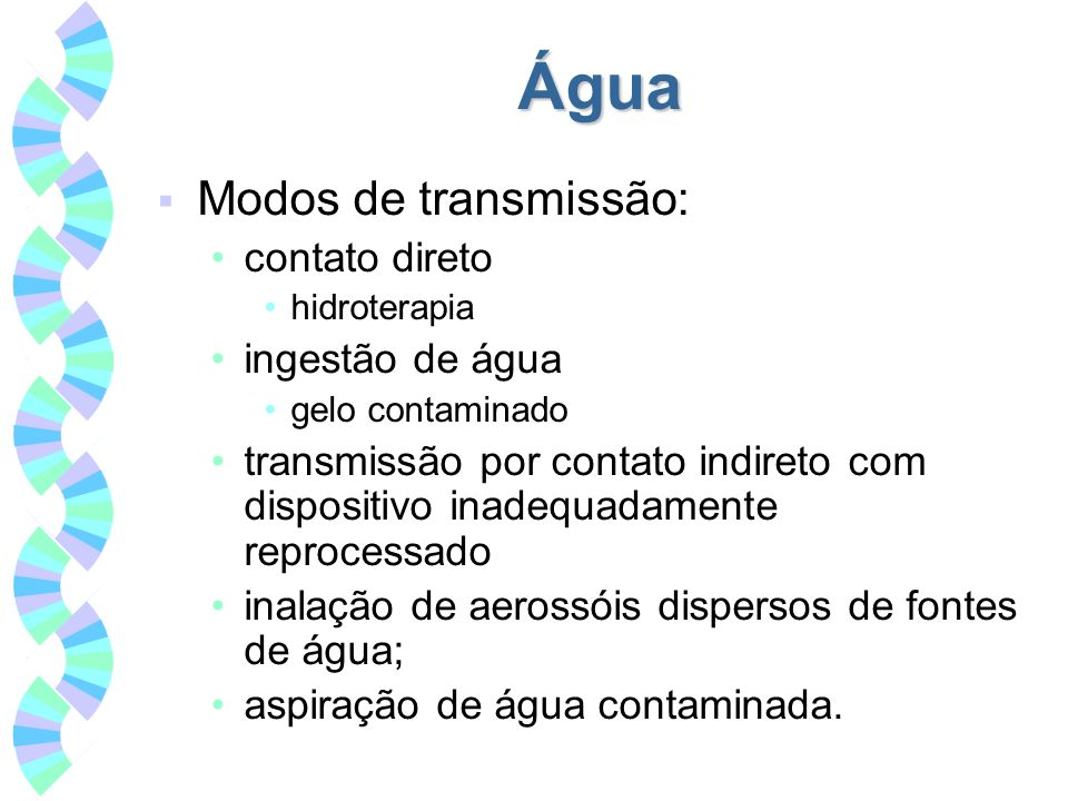 Água Modos de transmissão: contato direto ingestão de água