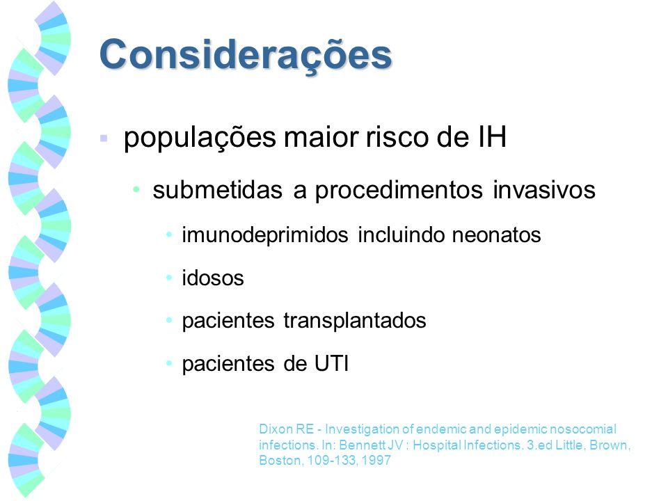 Considerações populações maior risco de IH