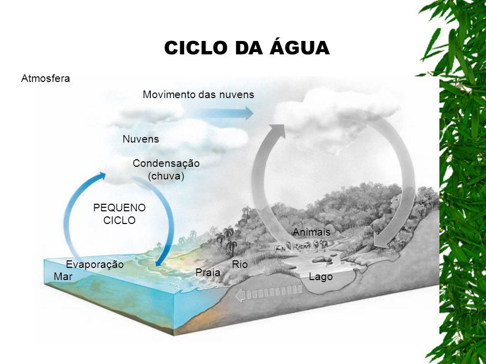 CICLO DA ÁGUA Atmosfera Movimento das nuvens Nuvens