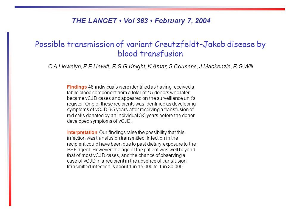 Possible transmission of variant Creutzfeldt-Jakob disease by