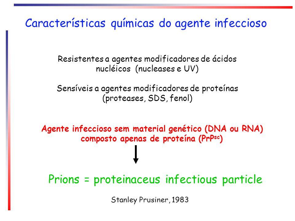 Características químicas do agente infeccioso