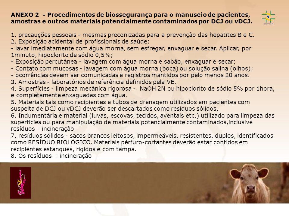 ANEXO 2 - Procedimentos de biossegurança para o manuseio de pacientes, amostras e outros materiais potencialmente contaminados por DCJ ou vDCJ.