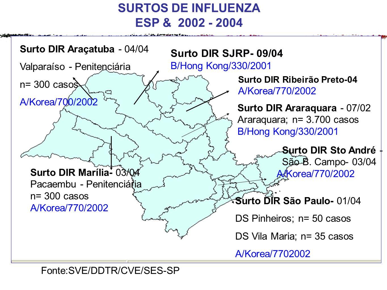 SURTOS DE INFLUENZA ESP & 2002 - 2004