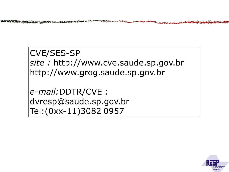 CVE/SES-SP site : http://www.cve.saude.sp.gov.br. http://www.grog.saude.sp.gov.br. e-mail:DDTR/CVE : dvresp@saude.sp.gov.br.