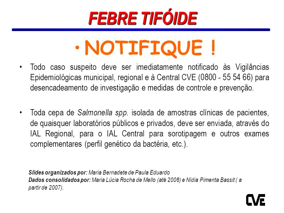 NOTIFIQUE ! FEBRE TIFÓIDE