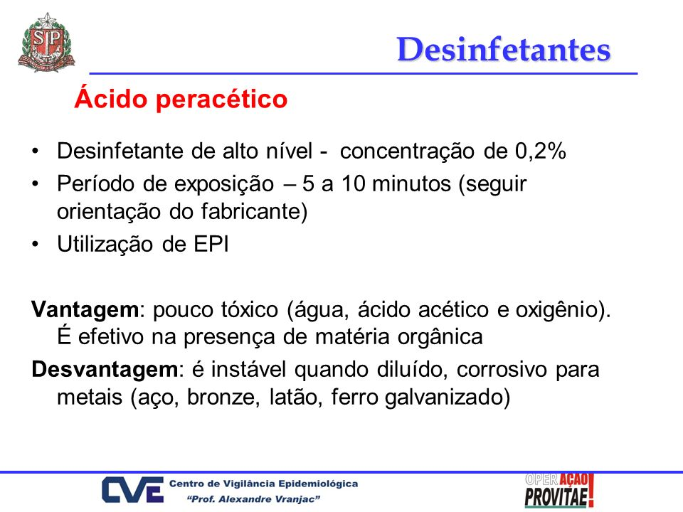 Desinfetantes Ácido peracético