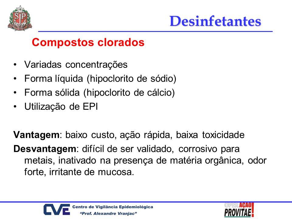 Desinfetantes Compostos clorados Variadas concentrações