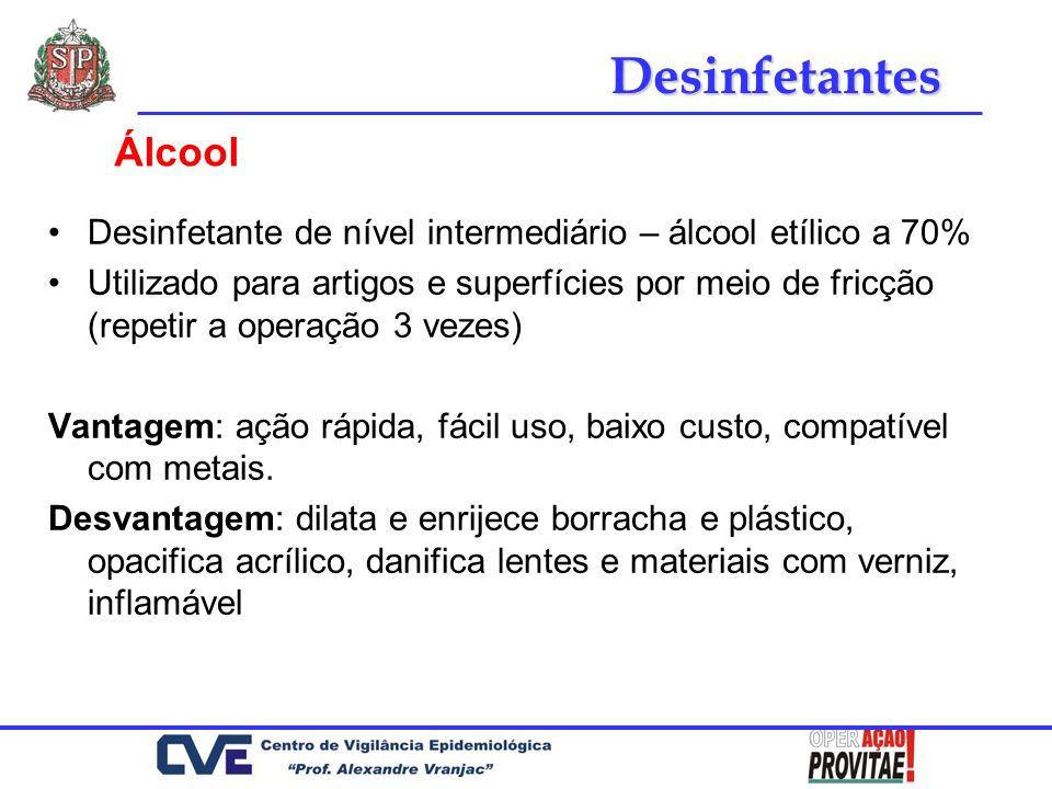 Desinfetantes Álcool. Desinfetante de nível intermediário – álcool etílico a 70%