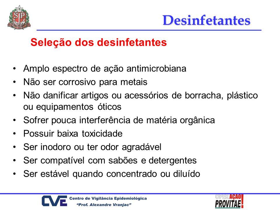 Desinfetantes Seleção dos desinfetantes