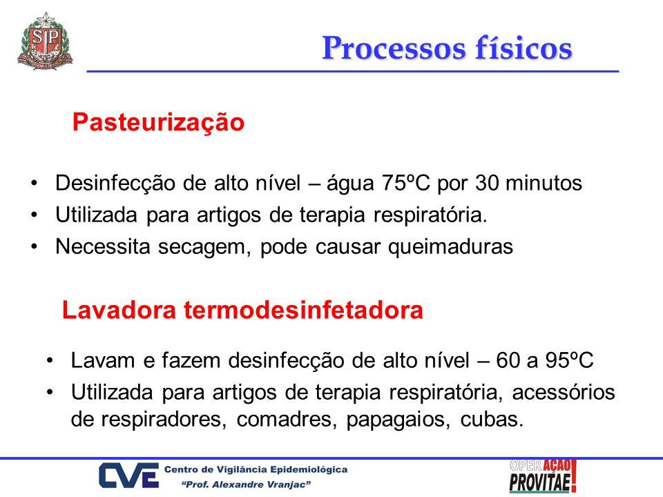 Processos físicos Pasteurização Lavadora termodesinfetadora