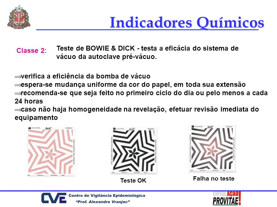 Indicadores Químicos Teste de BOWIE & DICK - testa a eficácia do sistema de vácuo da autoclave pré-vácuo.
