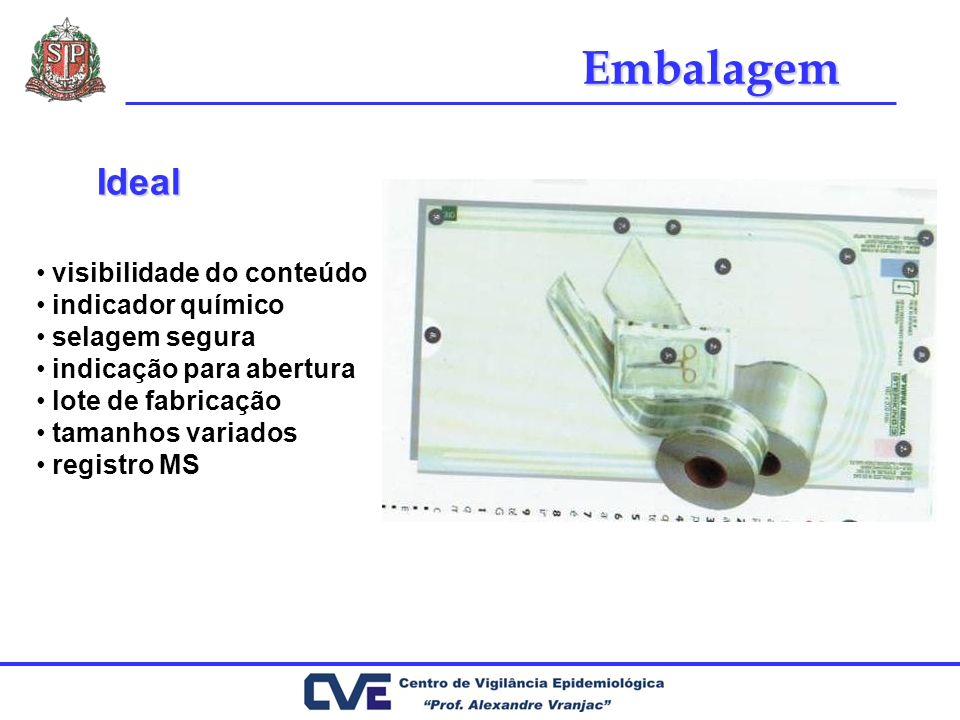Embalagem Ideal visibilidade do conteúdo indicador químico