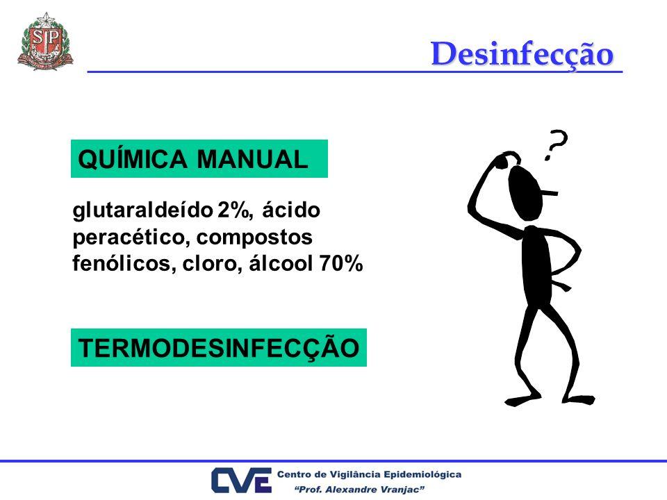 Desinfecção QUÍMICA MANUAL TERMODESINFECÇÃO