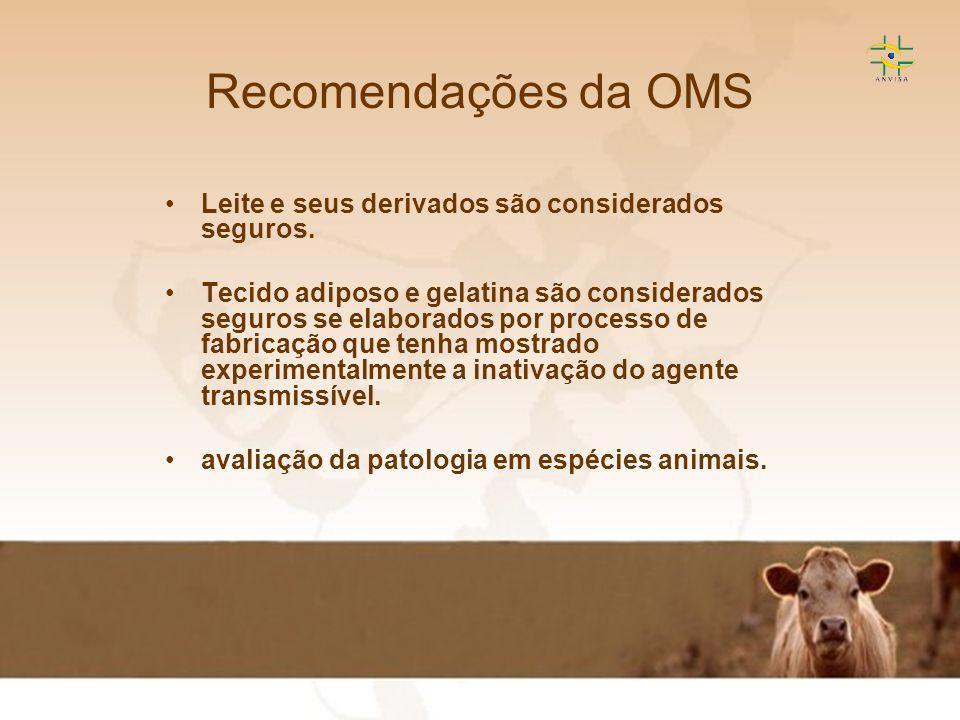 Recomendações da OMS Leite e seus derivados são considerados seguros.