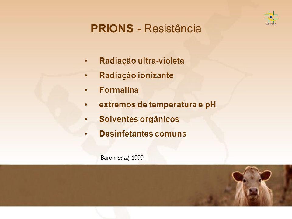 PRIONS - Resistência Radiação ultra-violeta Radiação ionizante
