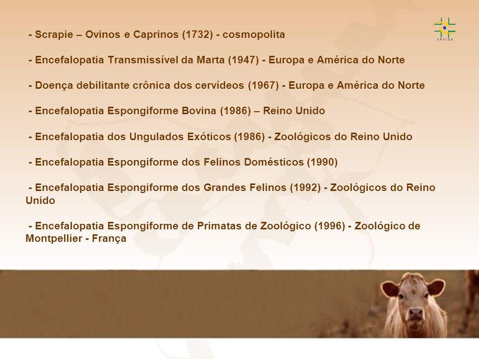 - Scrapie – Ovinos e Caprinos (1732) - cosmopolita - Encefalopatia Transmissível da Marta (1947) - Europa e América do Norte - Doença debilitante crônica dos cervídeos (1967) - Europa e América do Norte - Encefalopatia Espongiforme Bovina (1986) – Reino Unido - Encefalopatia dos Ungulados Exóticos (1986) - Zoológicos do Reino Unido - Encefalopatia Espongiforme dos Felinos Domésticos (1990) - Encefalopatia Espongiforme dos Grandes Felinos (1992) - Zoológicos do Reino Unido - Encefalopatia Espongiforme de Primatas de Zoológico (1996) - Zoológico de Montpellier - França