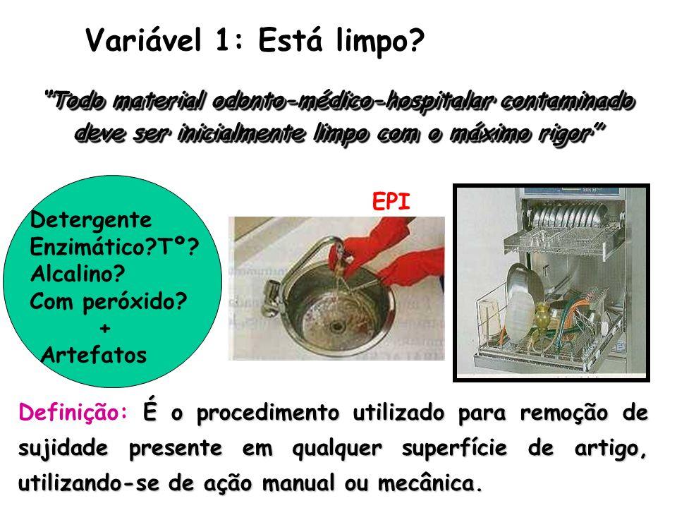 Variável 1: Está limpo Todo material odonto-médico-hospitalar contaminado deve ser inicialmente limpo com o máximo rigor
