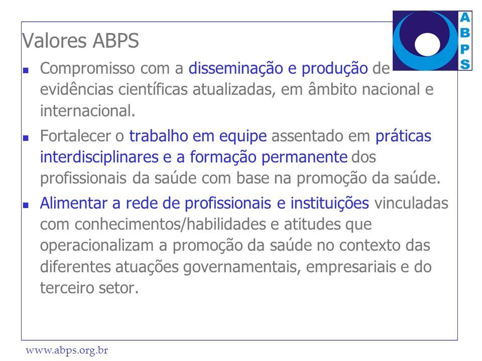 Valores ABPS Compromisso com a disseminação e produção de evidências científicas atualizadas, em âmbito nacional e internacional.