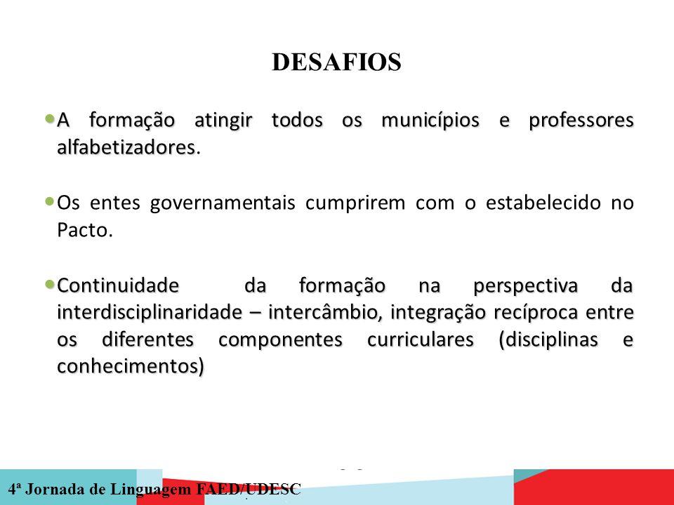 DESAFIOS A formação atingir todos os municípios e professores alfabetizadores. Os entes governamentais cumprirem com o estabelecido no Pacto.