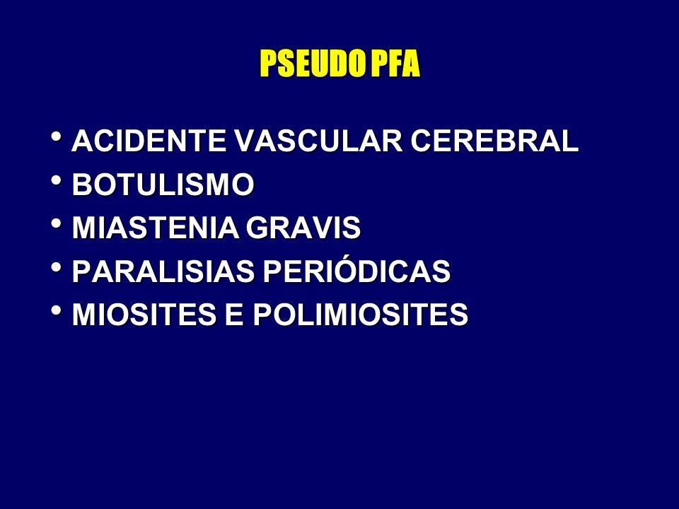 PSEUDO PFA ACIDENTE VASCULAR CEREBRAL BOTULISMO MIASTENIA GRAVIS