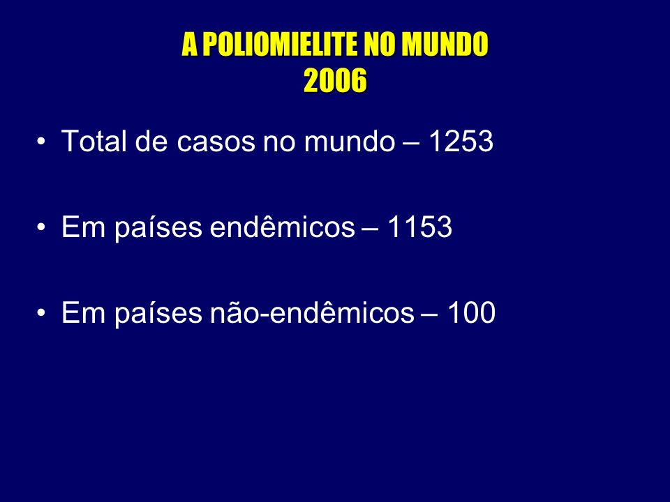 A POLIOMIELITE NO MUNDO 2006