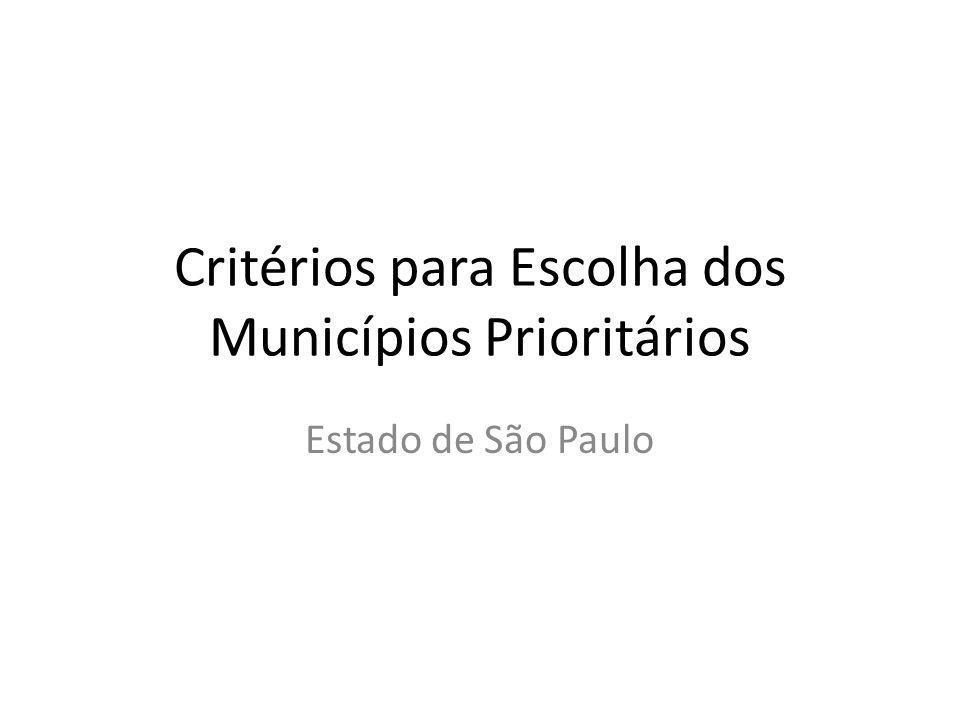 Critérios para Escolha dos Municípios Prioritários