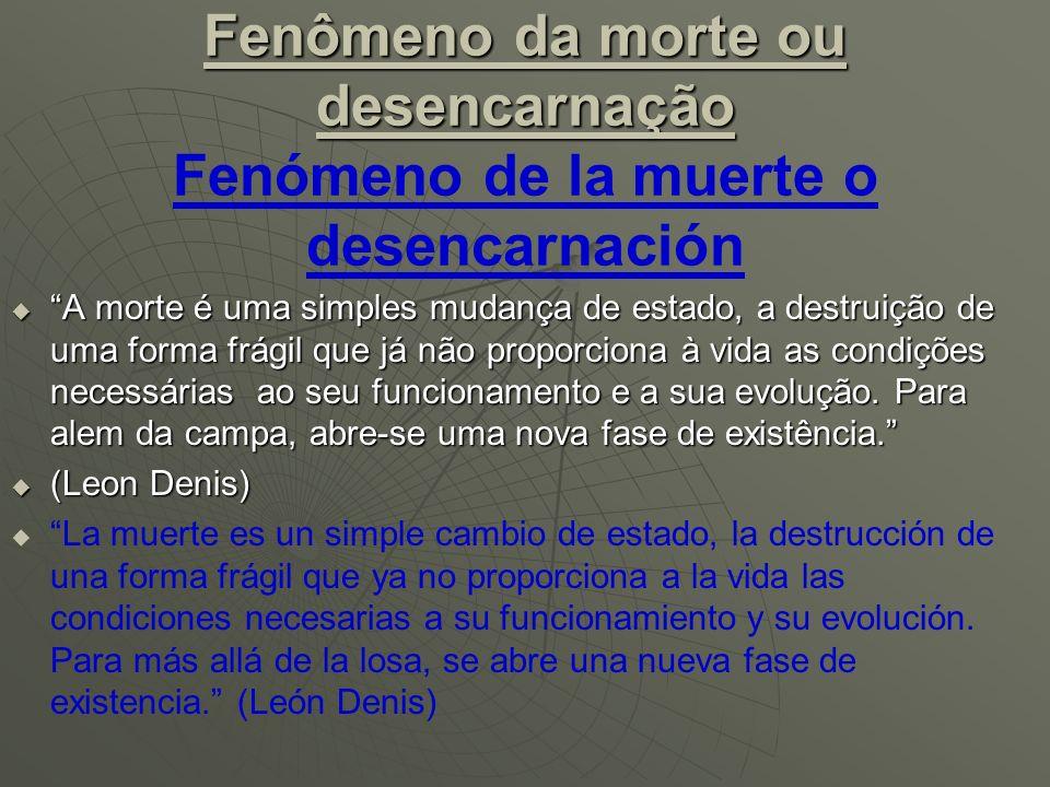 Fenômeno da morte ou desencarnação Fenómeno de la muerte o desencarnación
