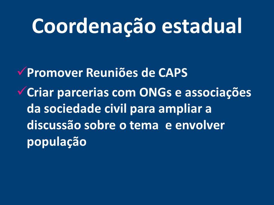 Coordenação estadual Promover Reuniões de CAPS