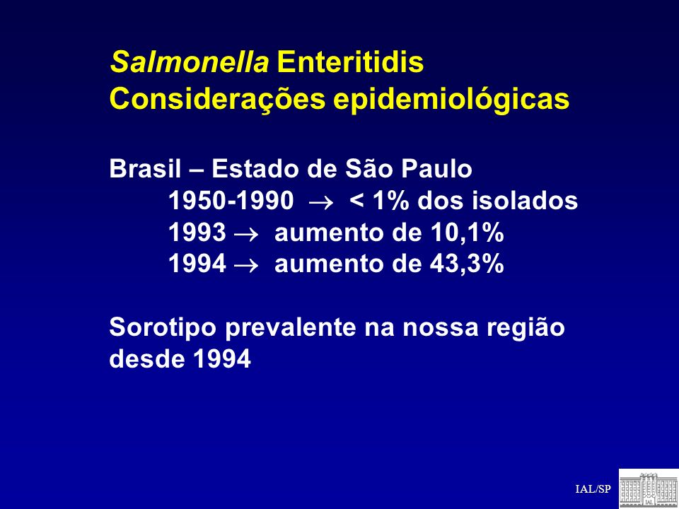 Salmonella Enteritidis Considerações epidemiológicas