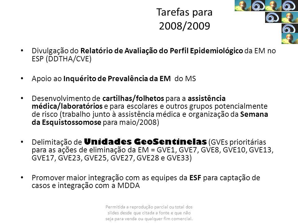 Tarefas para 2008/2009 Divulgação do Relatório de Avaliação do Perfil Epidemiológico da EM no ESP (DDTHA/CVE)