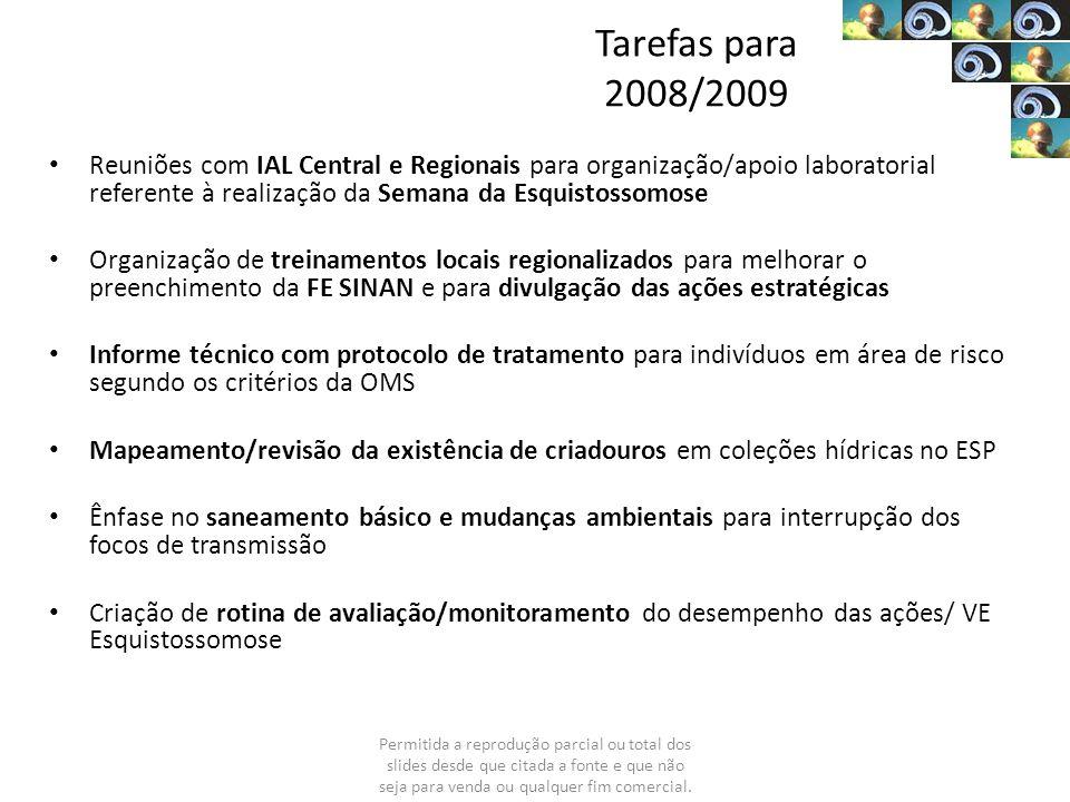 Tarefas para 2008/2009 Reuniões com IAL Central e Regionais para organização/apoio laboratorial referente à realização da Semana da Esquistossomose.