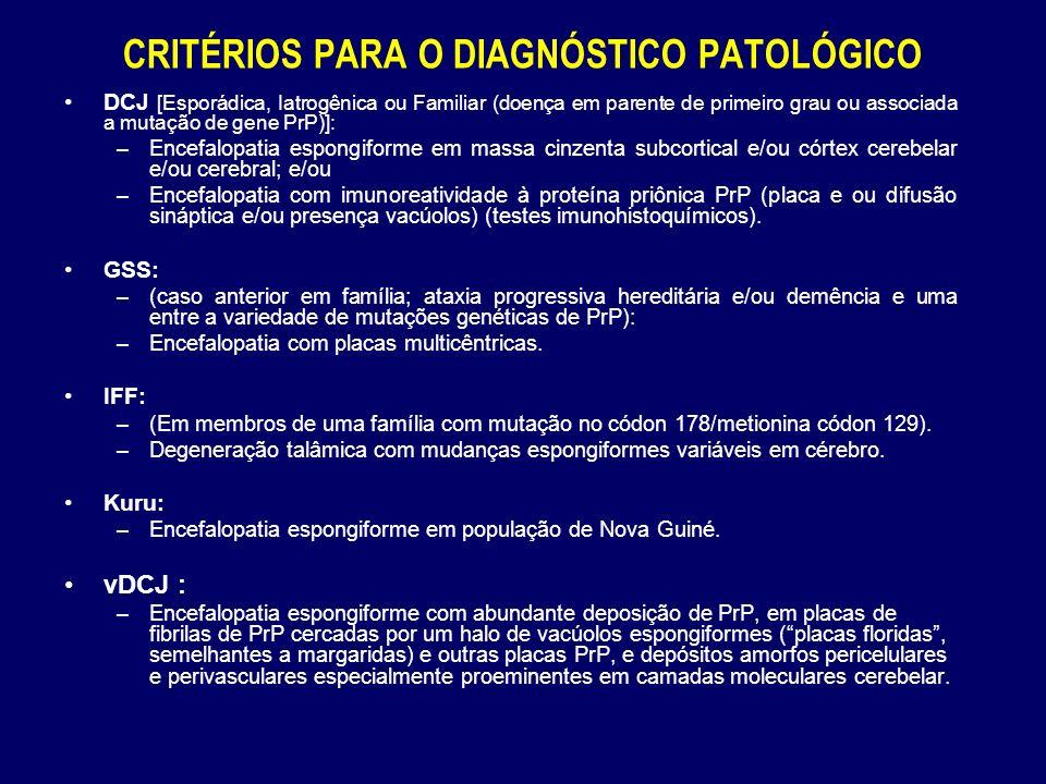CRITÉRIOS PARA O DIAGNÓSTICO PATOLÓGICO