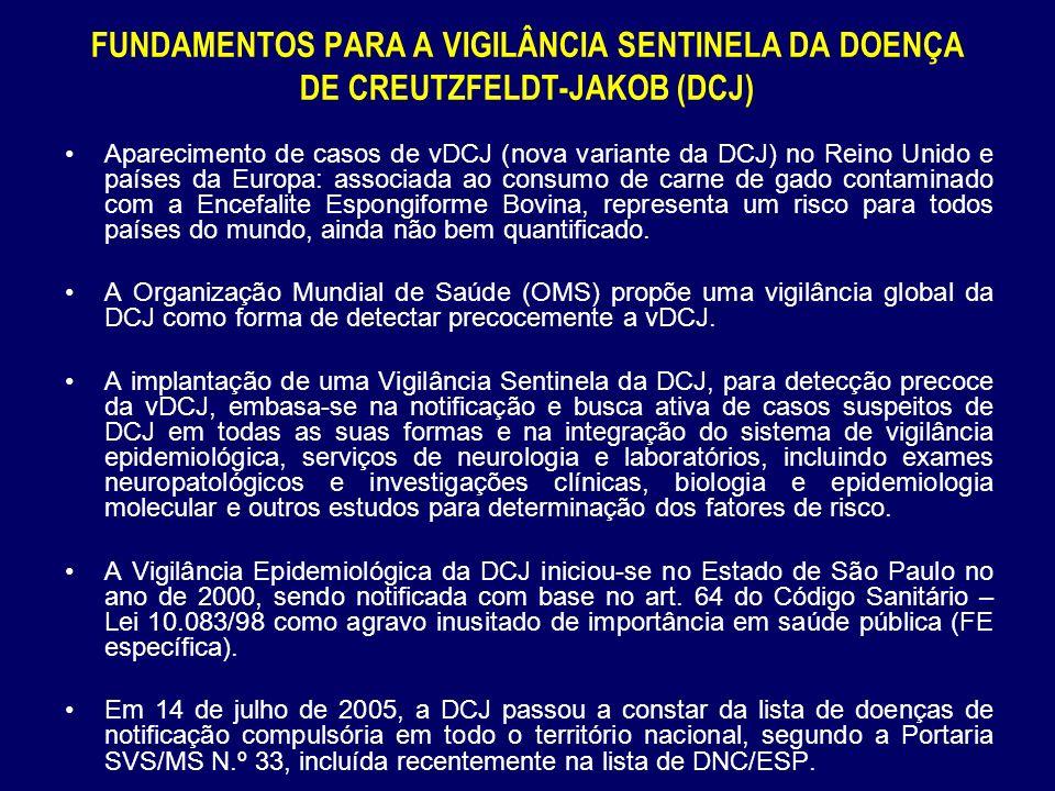 FUNDAMENTOS PARA A VIGILÂNCIA SENTINELA DA DOENÇA DE CREUTZFELDT-JAKOB (DCJ)