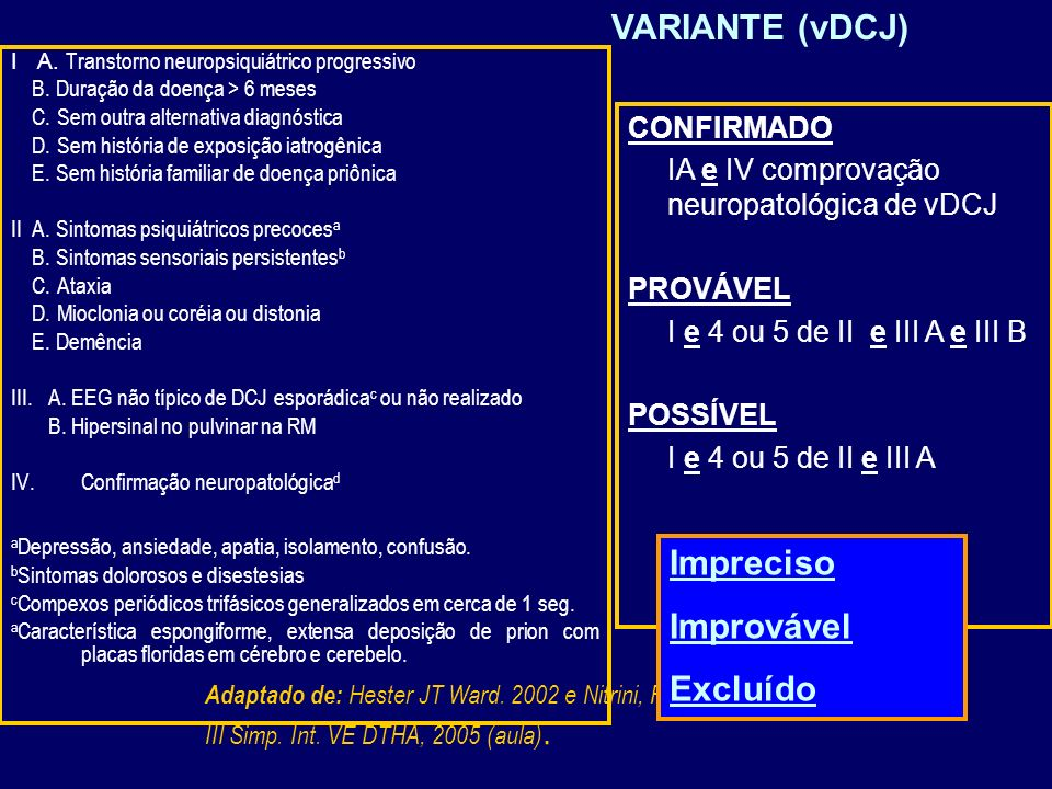 VARIANTE (vDCJ) Impreciso Improvável Excluído CONFIRMADO