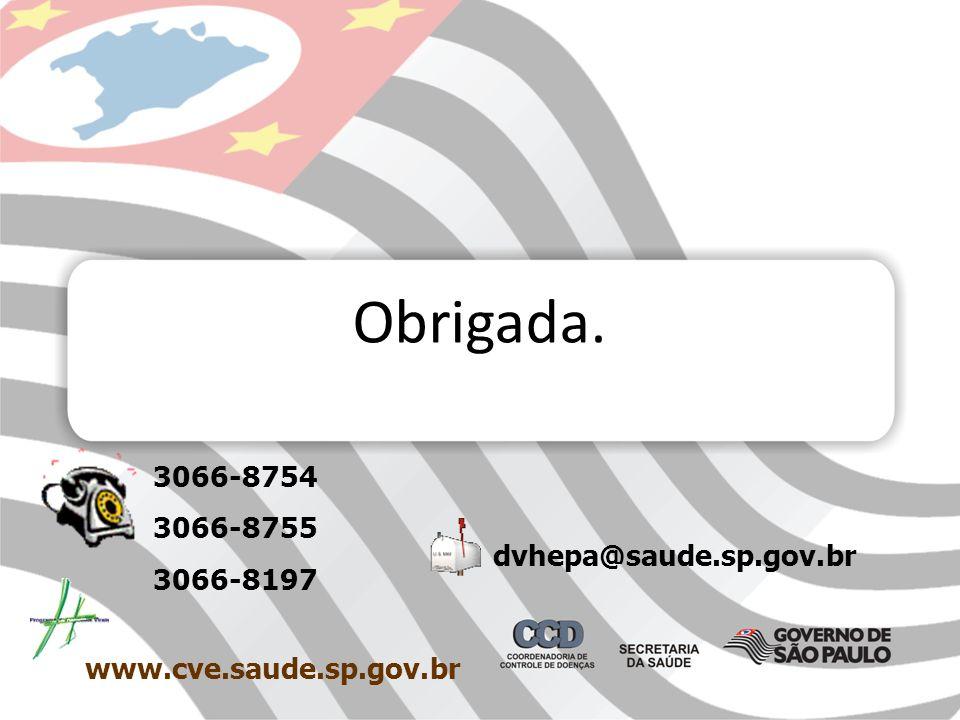 Obrigada. 3066-8754 3066-8755 3066-8197 dvhepa@saude.sp.gov.br