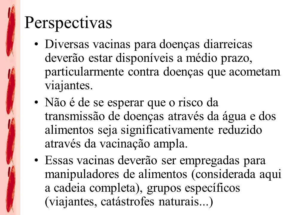 Perspectivas Diversas vacinas para doenças diarreicas deverão estar disponíveis a médio prazo, particularmente contra doenças que acometam viajantes.