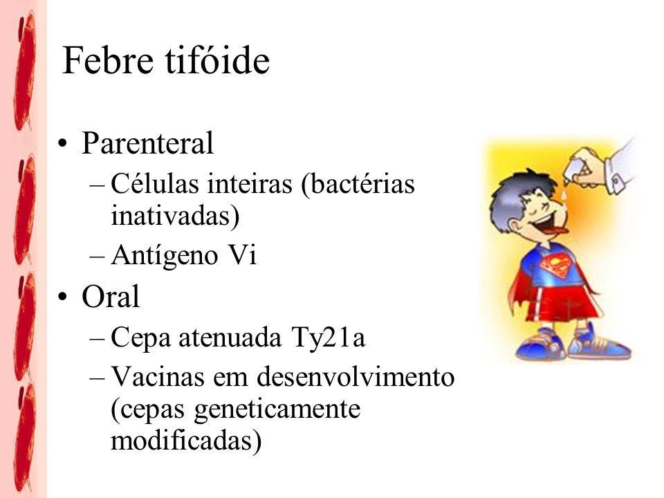 Febre tifóide Parenteral Oral Células inteiras (bactérias inativadas)